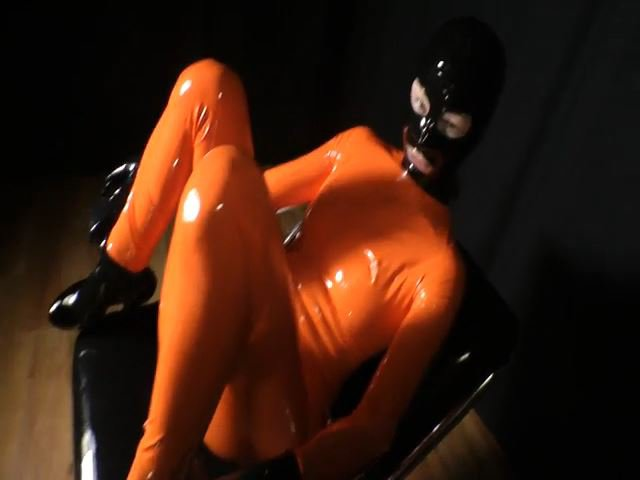 Orange Latex Catsuit