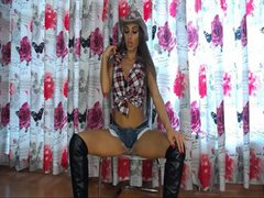 Cowgirl riding cock on chair