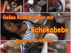 Geiles Rudelbumsen mit Schokobebe